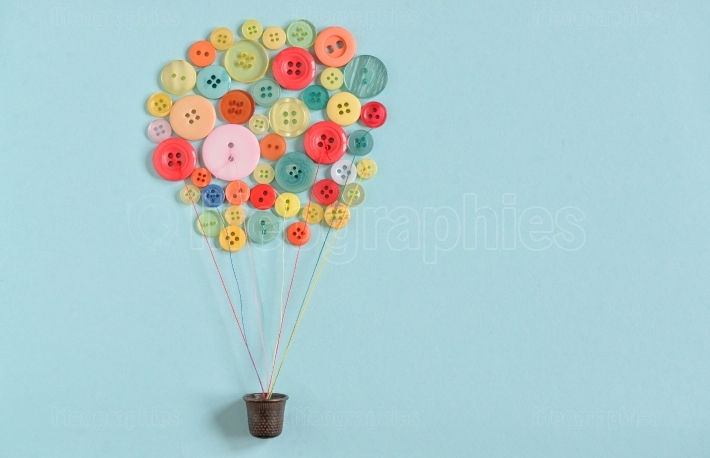 Hot air balloon from colorful sewing buttons