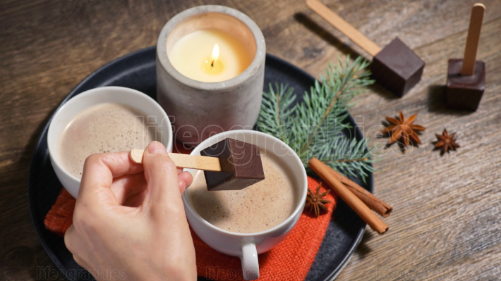 Hot Chocolate With Chocolate Sticks