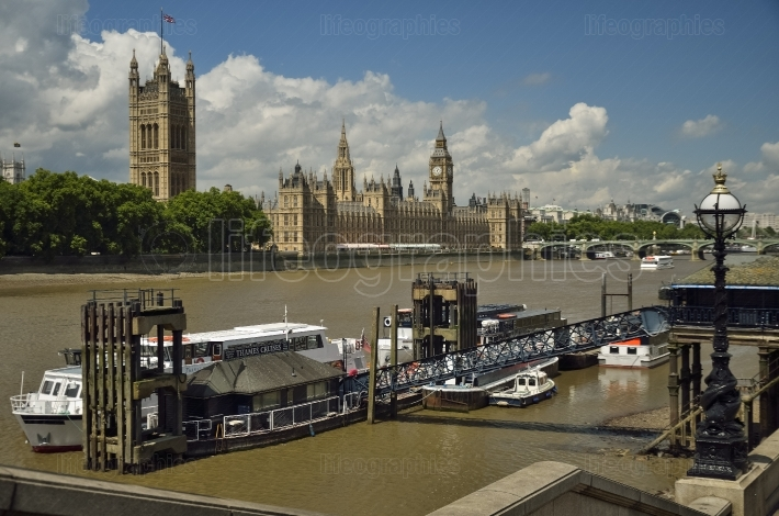 Houses of parliament, big ben, and thames river.