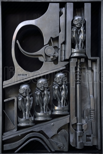 HR Giger sculpture in metal