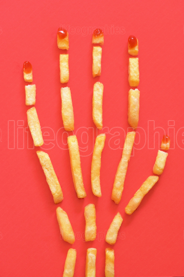Human Hand  Concept With French Fries