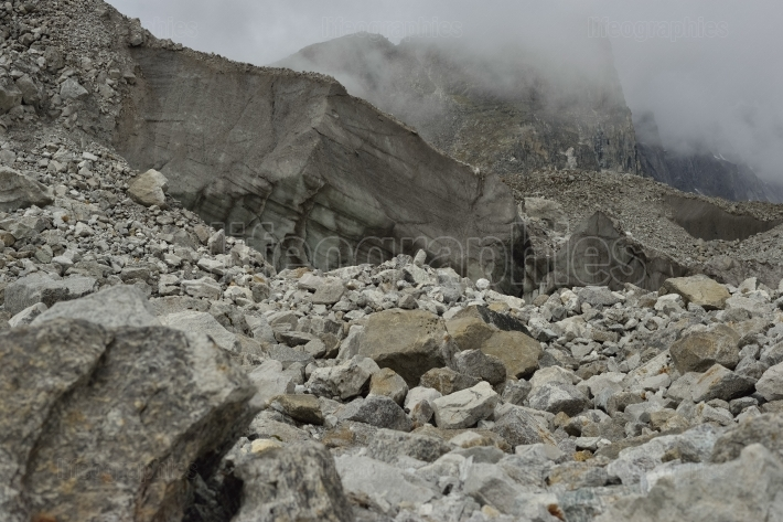 Ice and stones from deep valley of Khumbu Glacier from Everest Base Camp, Himalaya. Nepal