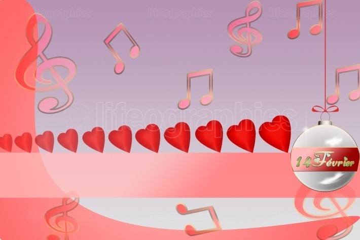 Illustration of hearts on a red background for Valentine s Day