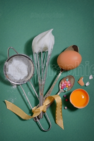 Ingredients and tools for baking