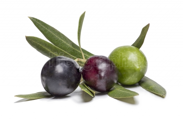 Isolated colorful olives