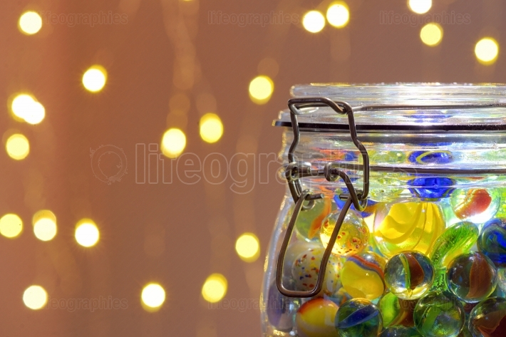 Jar of Marbles and Christmas lights