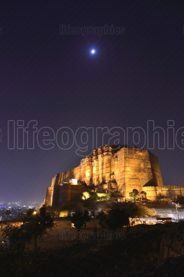 Jodhpur city and Mehrangarh Fort at night