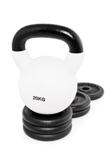 Kettlebell on a pedestal of weight plates