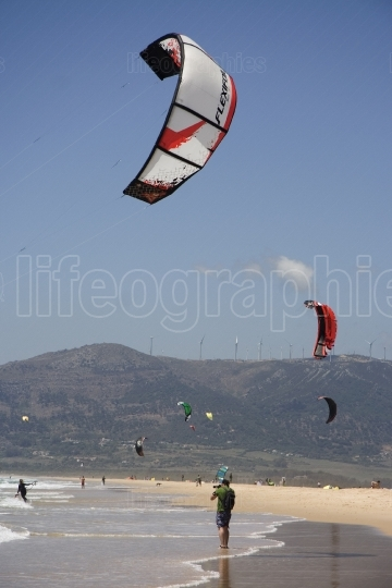 Kite surfers at Tarifa Beach, Spain