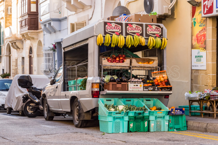 La Vallette,Malte,Europe 30 11 2019 Small truck filled with vege