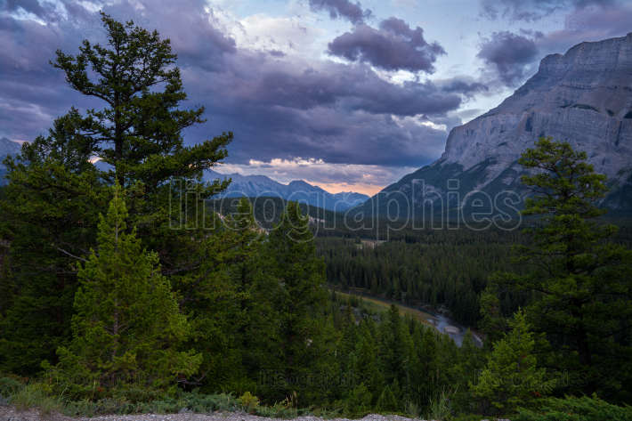 Landscape close to Banff during sunset, Alberta, Canada