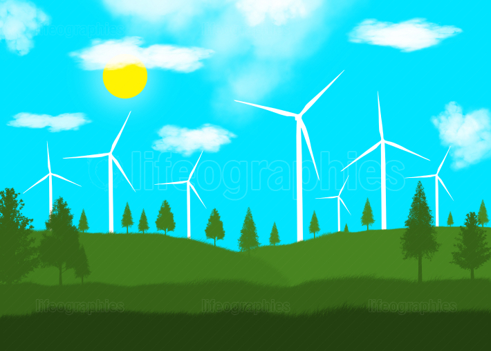 Landscape illustration with wind turbines