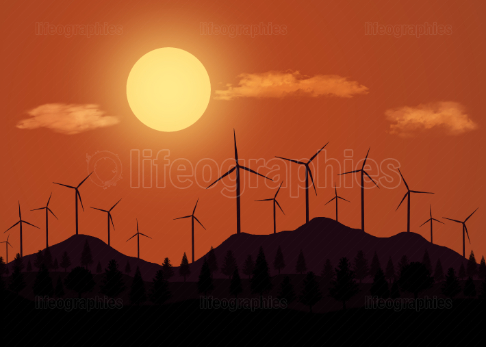 Landscape illustration with wind turbines at sunset.