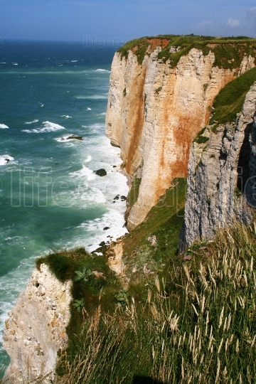 Landscape of cliffs and beach of Etretat, Normandie, France
