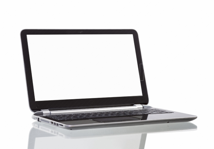Laptop with blank white screen on white