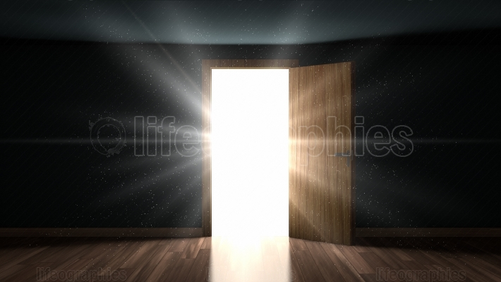 Light and particles in a room through the opening door