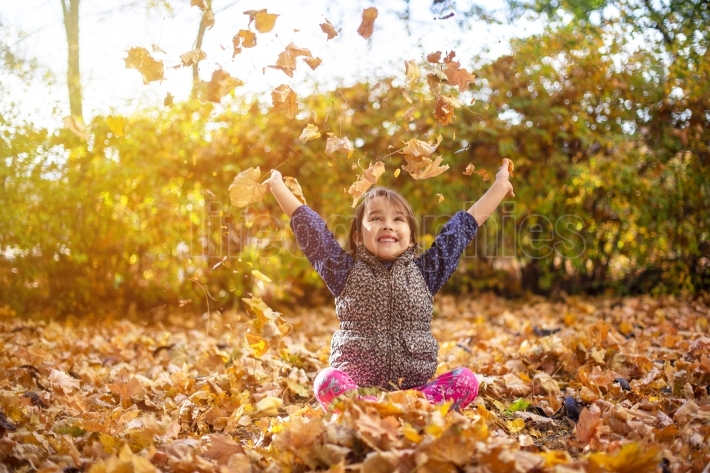 Little and beautiful girl enjoy autumn season and throw up leaves