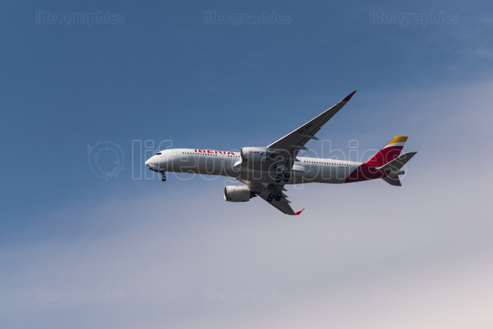 LONDON, UK-JULY 1, 2019: Iberia Airbus 330