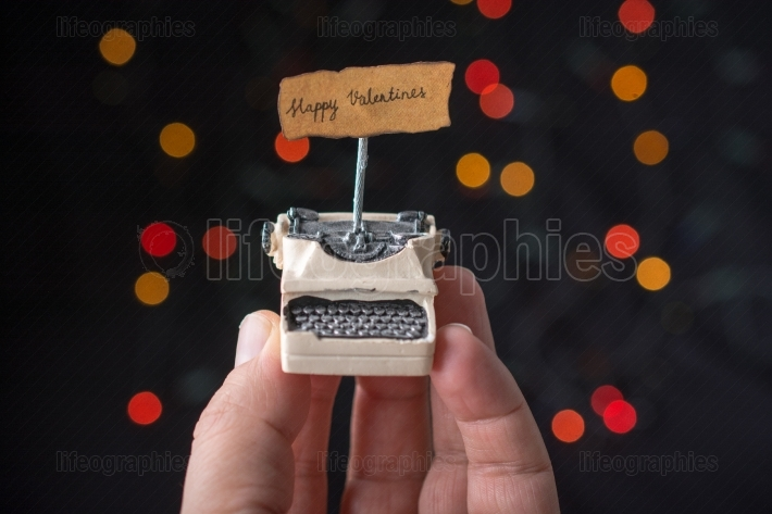 Love concept for valentine s day on  typewriter
