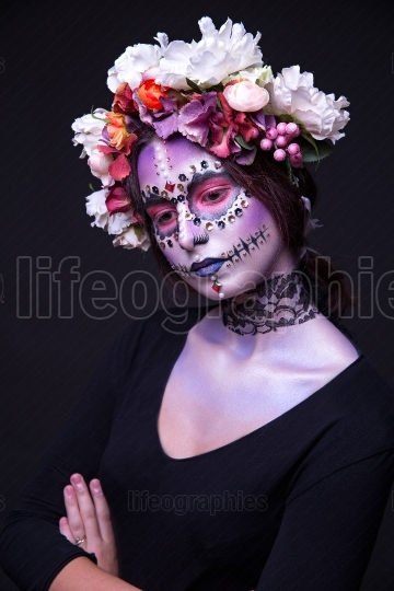 Makeup with Rhinestones and Wreath of Flowers Halloween theme