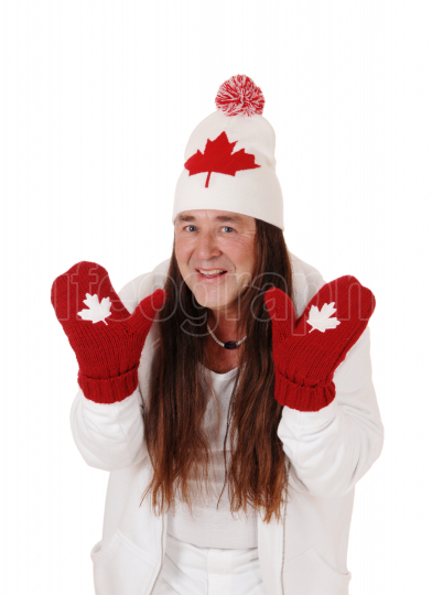 Man dressed for winter with Canadian symbols and long hair