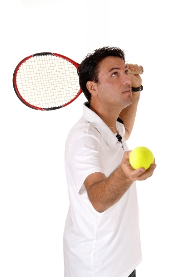 Man playing tennis looking up