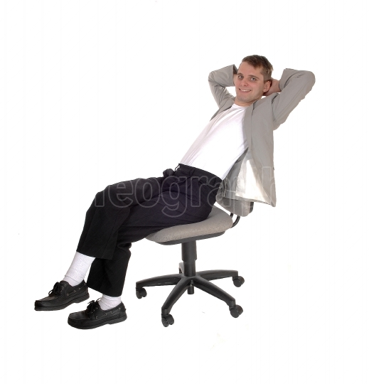 Man resting in jacket on office chair