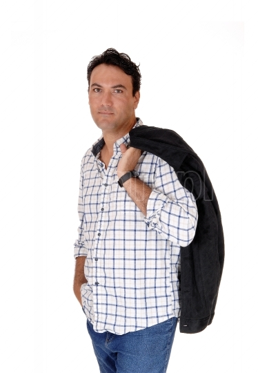 Man standing with his jacket over shoulder