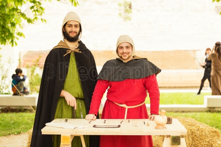 Medieval Dentists during a representation outdoor
