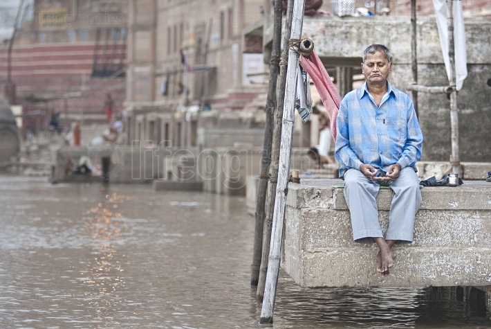 Meditating man from Varanasi