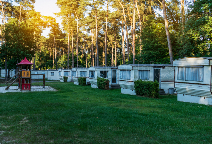 Mobile houses in a holiday park