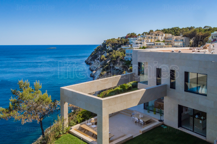 Modern interior by the sea  Outdoor architecture with a fantasti