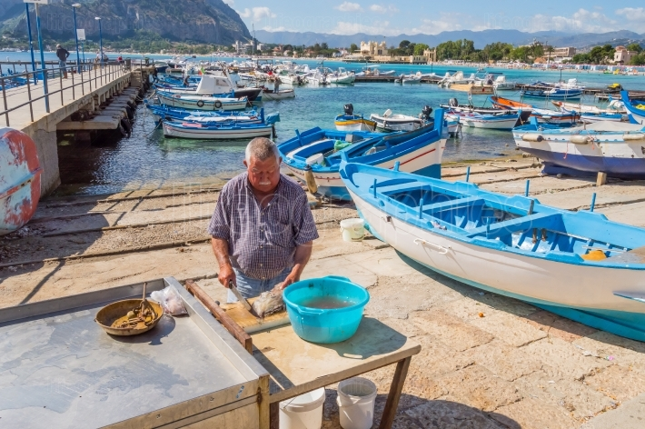 Mondello, Sicily, Europe 10 06   2018 Sililian fisherman emptyin