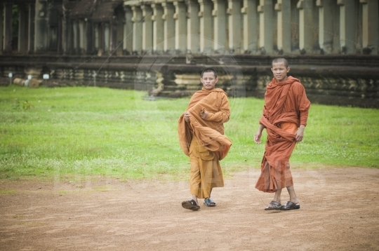 Monks in angkor wat, cambodia