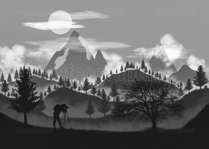 Monochrome landscape. 2D illustration