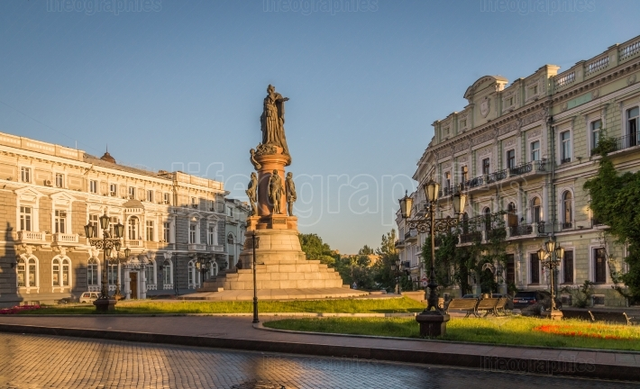 Monument to the founders of Odessa  city Ukraine
