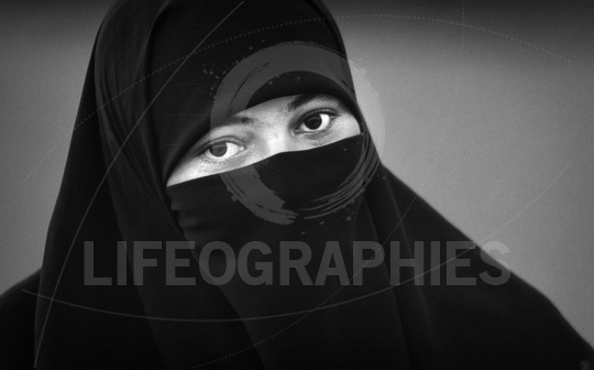 Muslim girl wearing burka