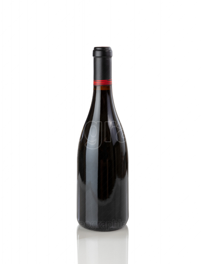 New red wine bottle isolated on pure white background with refle
