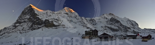 Night panoramic view of Ski resort at Kleine Scheidegg with Eiger mountain. Swiss Alps