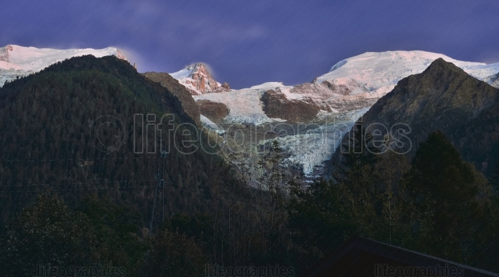 Night scene with Mont Blanc and glacier from Chamonix, French Alps, France