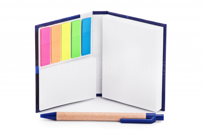 Notebook with colorful page marker stickers and a pen