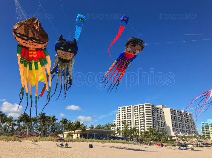 Octopus Superhero Kites Fly Above Fort Lauderdale Beach
