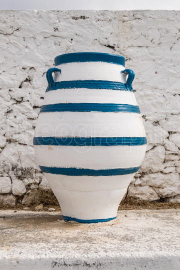 Old blue and white amphora lay