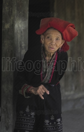 Old lady from Red Dzao tribe. Sapa villages