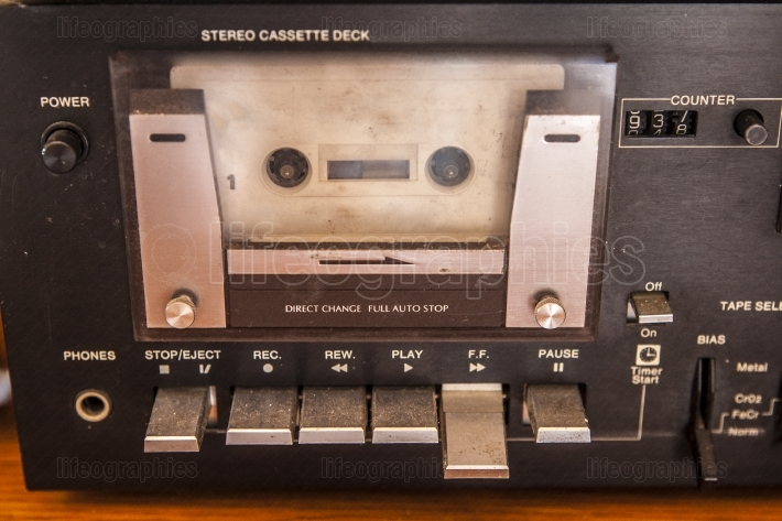 Old quality stereo cassette with tape inside