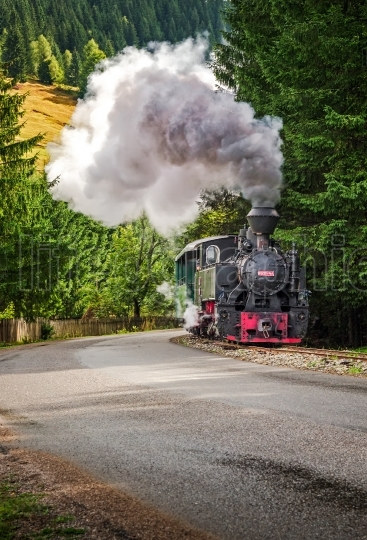 Old steam ,coal  train.Mocanita touristic train  in Europe - Rom