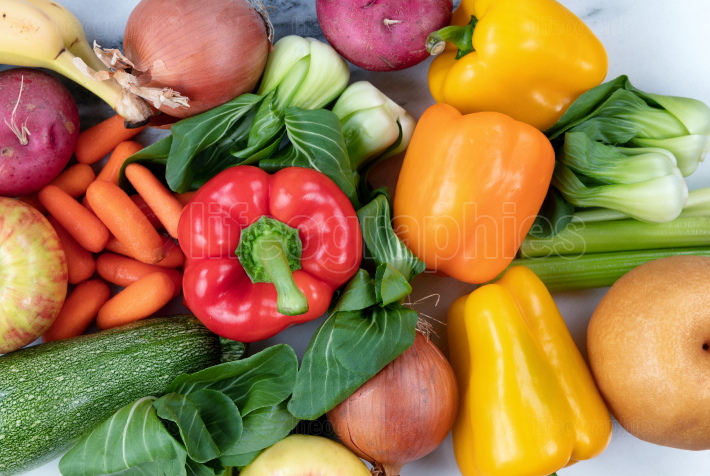Overhead view of organic vegetables and fruits for a healthy die