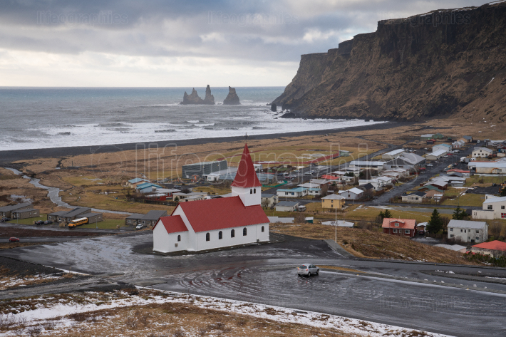 Panorama of Vik, Iceland, Europe