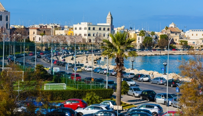 Panoramic view of Bari seafront in the background Basilica San Nicola. Apulia.