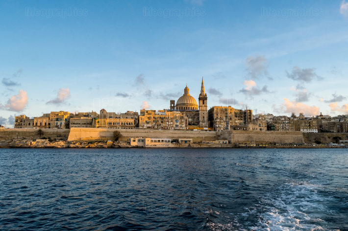 Panoramic view of Valletta Skyline at beautiful sunset from Slie